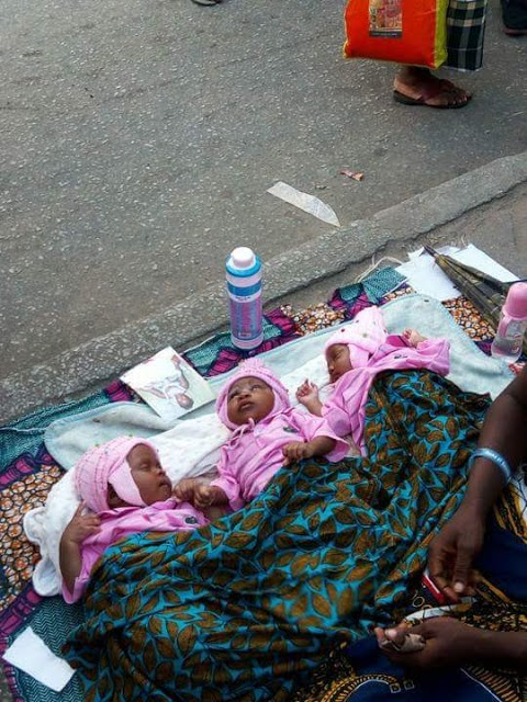 Woman Who Gave Birth to Triplets Begs on the Street in Port-Harcourt (See Photos)