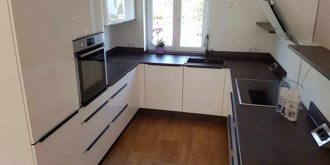 Küche Weiß Hochglanz Nussbaum Vorratsschrank Nobilia ...