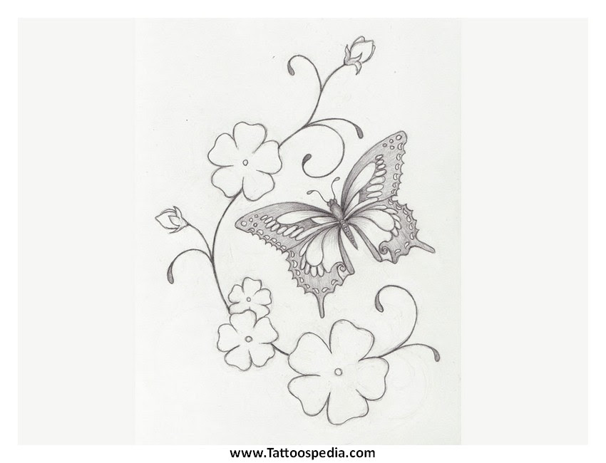 Butterfly With Cherry Blossom Tattoo 2