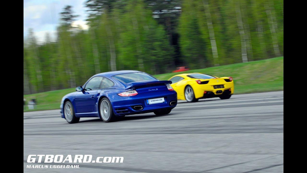 Ferrari 458 vs Porsche 911 Turbo S (997 PDK stock). 458 ...