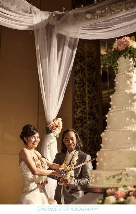 Cutting the Cake with Sword   Thailand Destination Wedding