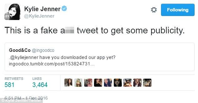 Bater de volta!  A estrela fez questão de deixar seus fãs sabem a inicialização foi fabricar os tweets dela para angariar negócios