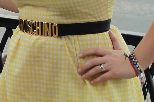 Outfit - vintage Moschino belt, handmade yellow gingham dress