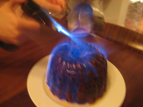 lighting the pudding