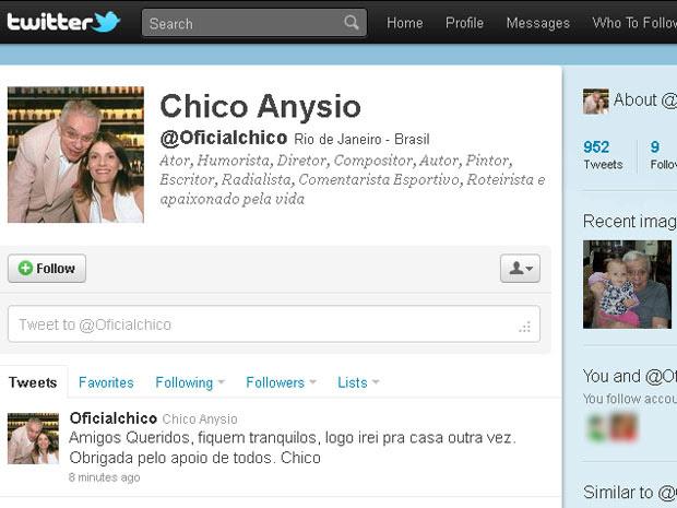 Twitter Chico Anysio (Foto: Reprodução de internet)