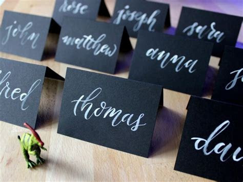 Black Place Cards, Chalkboard Place Cards, Hand Lettered