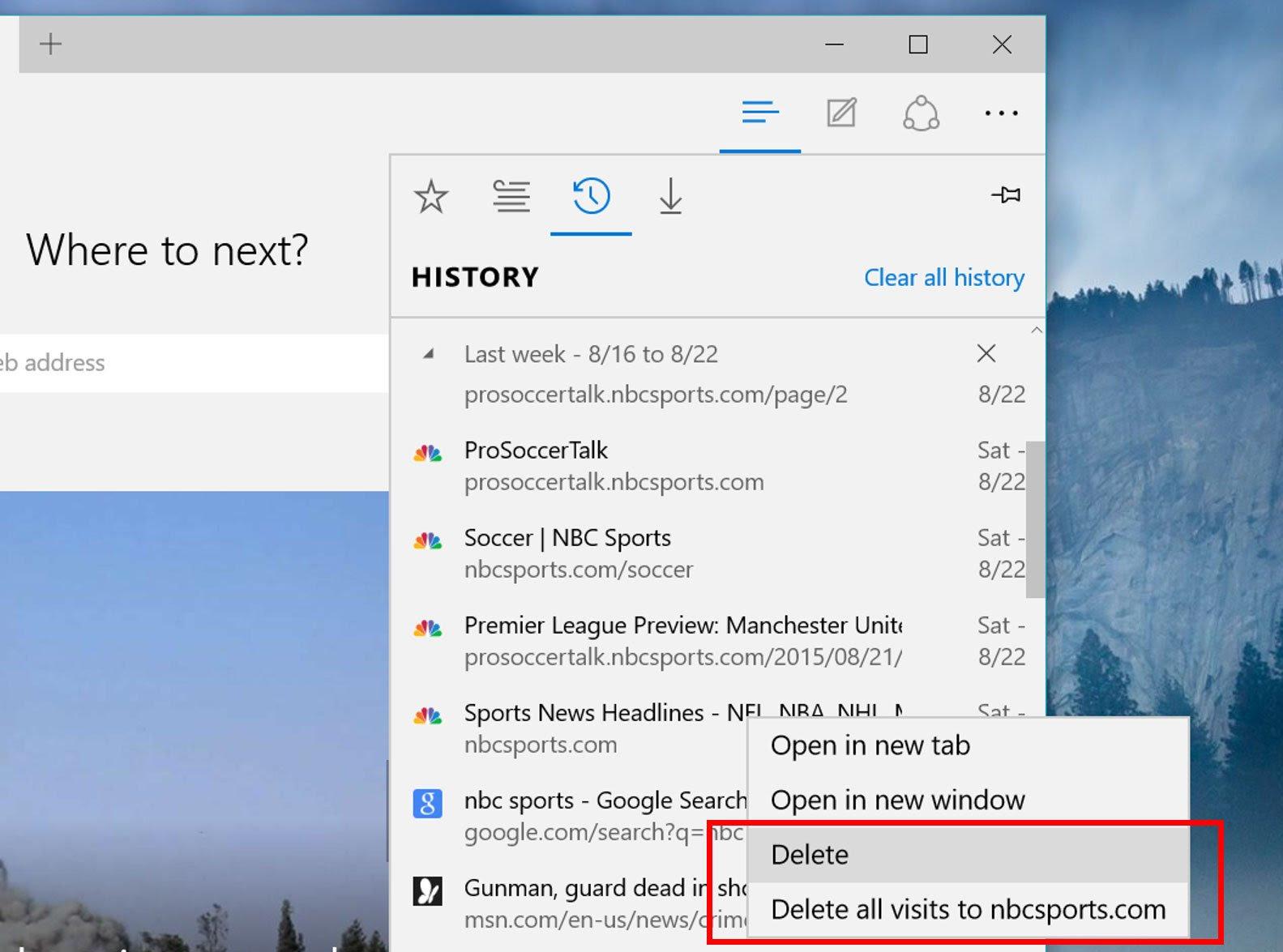 Microsoft Edge Delete