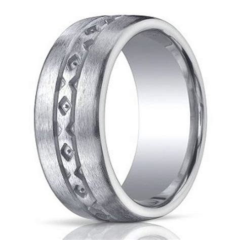 10mm Designer Brushed Argentium Silver Wedding Ring with X