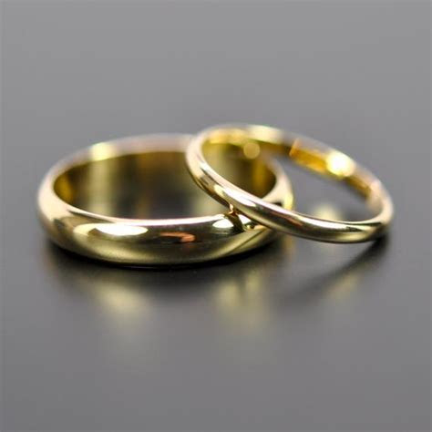 18K Yellow Gold Classic Wedding Band Set His and by