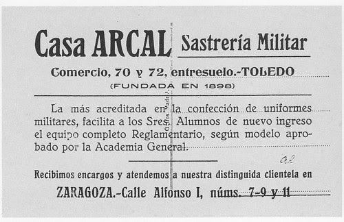 Publicidad de la Sastrería Arcal. Colección Luis Alba