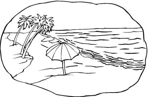 Dibujo De Escena De Playa Para Colorear Dibujos Para Colorear