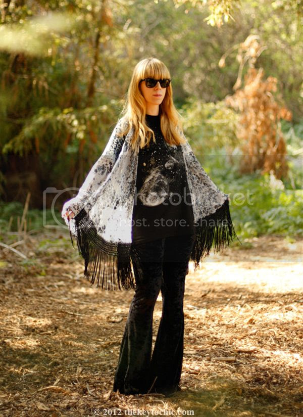 fringe kimono jacket, velvet bell bottoms, Los Angeles fashion blog