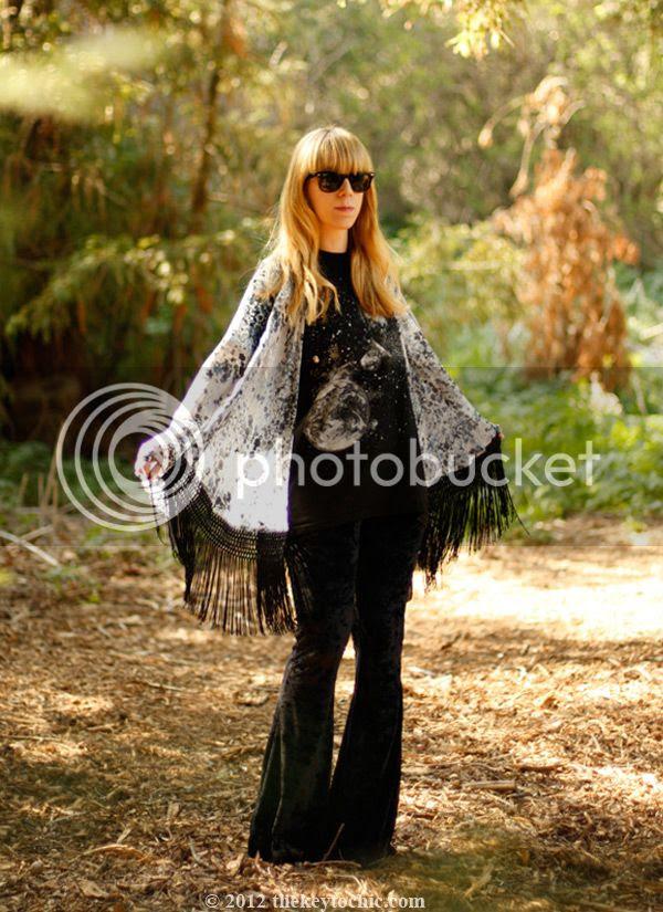 fringe kimono jacket, velvet bell bottoms, Los Angeles fashion blog