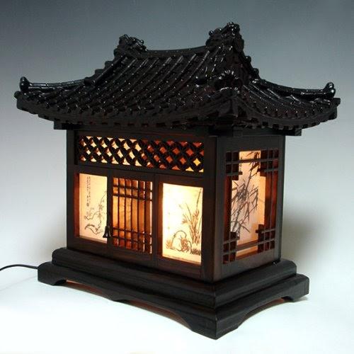 Korean Home Decor: Wood Lamp Shade Handmade Traditional Korean House Design