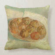 Still Life w Basket of Apples by Vincent van Gogh throwpillow