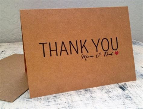 Parents Thank You Card   Personalized Thank You Card With