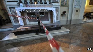 Interior view of Santa Brescella church closed Wednesday, 25 Jan, 2012, after earthquake caused minor damage