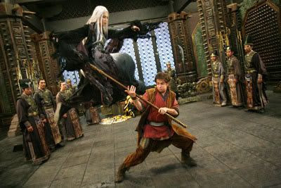 Jason Tripitikas tries to hold his own against the White-Haired Witch in battle.
