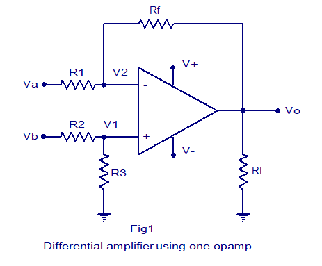 differential amplifer using 1 opamp