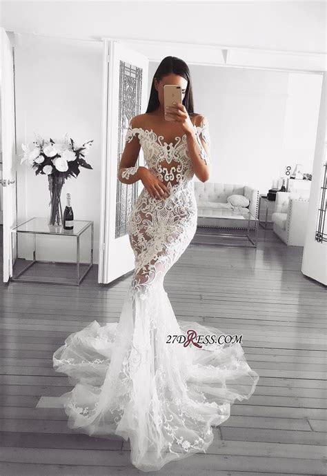 Glamorous Long Sleeve Wedding Dress   2019 Mermaid Lace