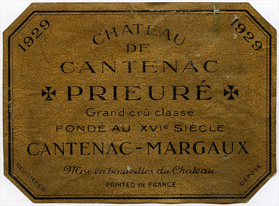 The label of Château Prieuré de Cantenac 1929