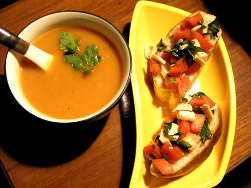 soup and bruschetta