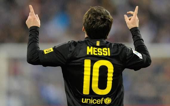 Leo Messi celebrando con el FC Barcelona