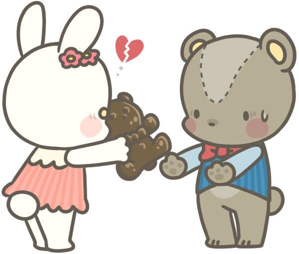 クマにチョコレートをあげるも断れるうさぎの可愛いイラスト