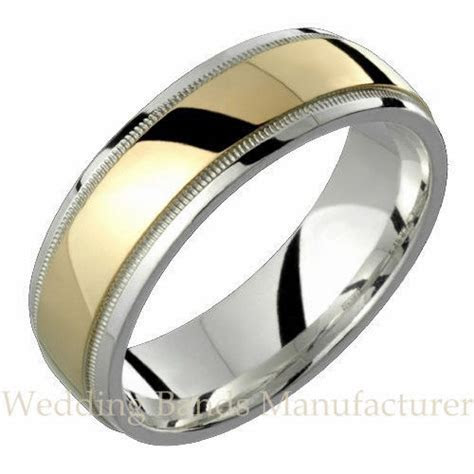 10k Yellow White Two Tone Gold Wedding Band Mens Milgrain