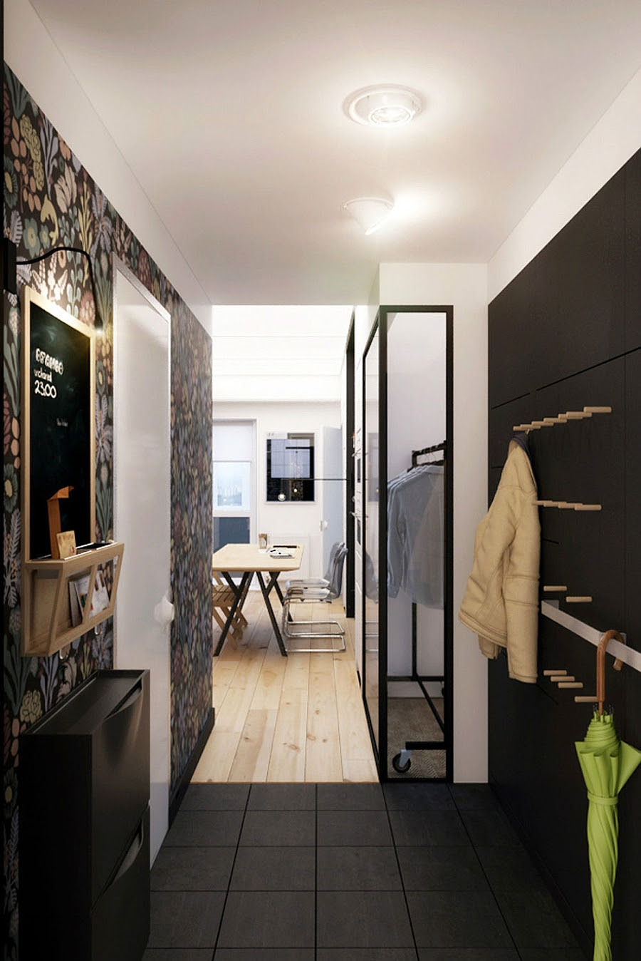 Tiny Apartment In Black And White Charms With Space-Saving Design