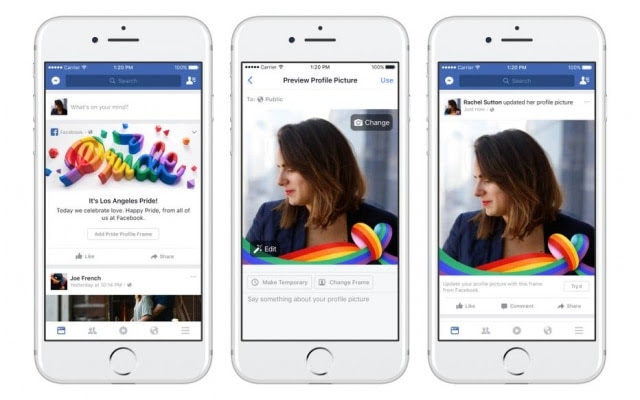 Facebook ganhou filtros de arco-íris