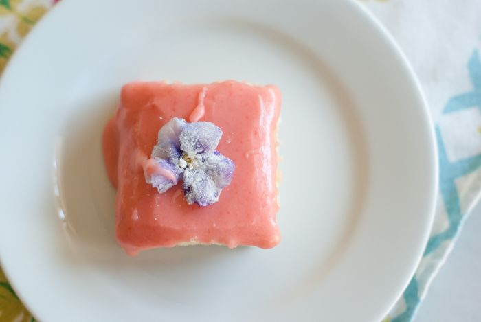 Sugar Cookie Bars with Strawberry Glaze and Sugared Flowers