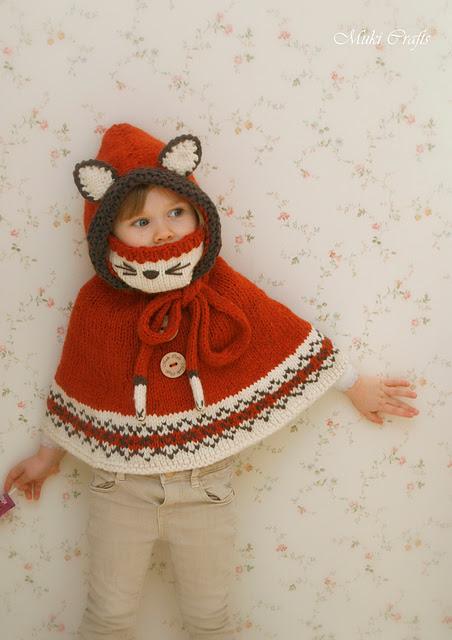 Poncho renard pour enfant Fox poncho Lexi par Muki Crafts
