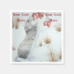 Cute mouse and red berries snow scene wildlife art standard cocktail napkin