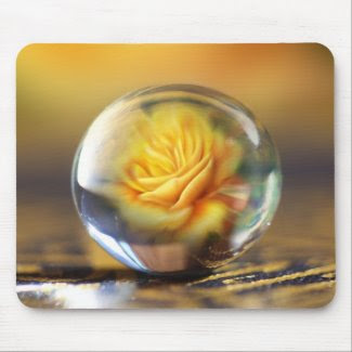 Yellow Rose In A Glass Ball mousepad