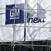 A sign at General Motors' world headquarters