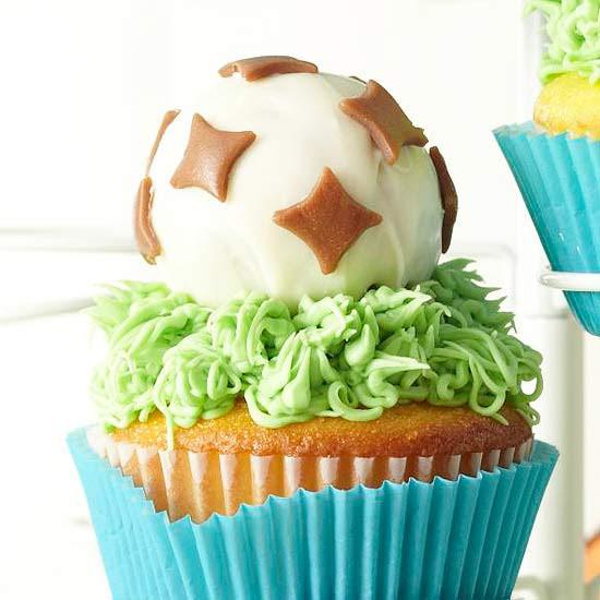 Soccer Ball Cupcakes