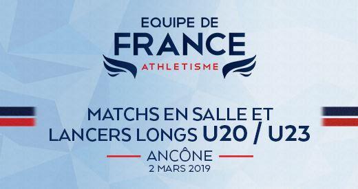 Matchs équipe de France U20 et U23 à Ancône (ITA) : les sélections