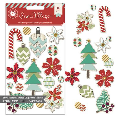Snow Village 3D Chipboard Stickers $3.99