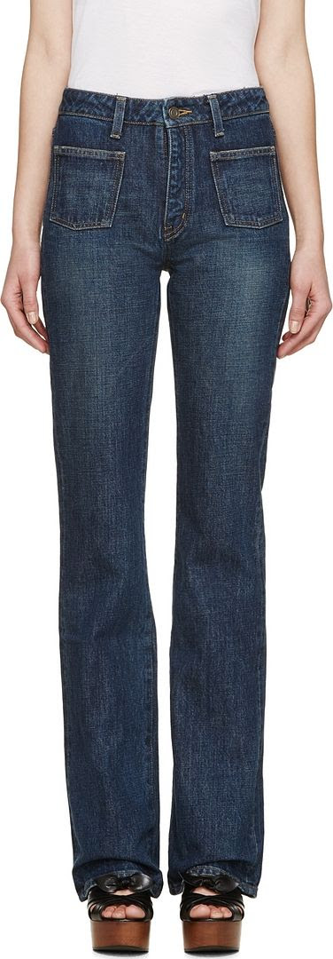 Saint Laurent Blue Flared Jeans