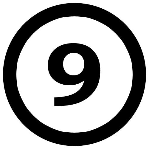 This picture shows a black number 9 inside a circle.