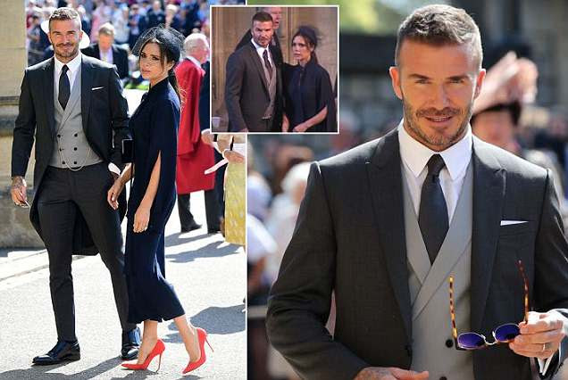 Victoria Beckham usa o vestido midi da Marinha para o casamento real