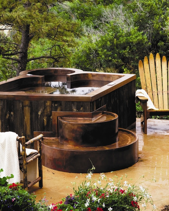 Custom Copper Hot Tub with recycled barn board.. Coolest Hot Tub Ever!!!