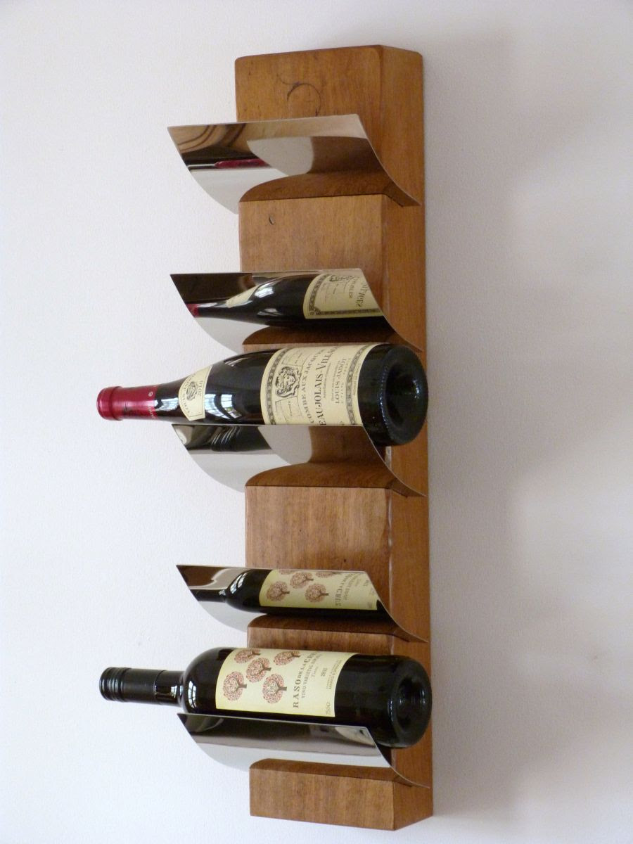 Furniture Wall Mount Wine Rack With 5 Bottle Capacities And Chrome