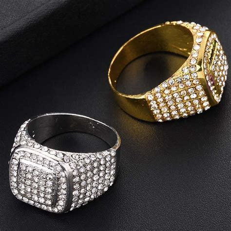 HIP Hop Bling Iced Out Square Crystal Ring Gold Color
