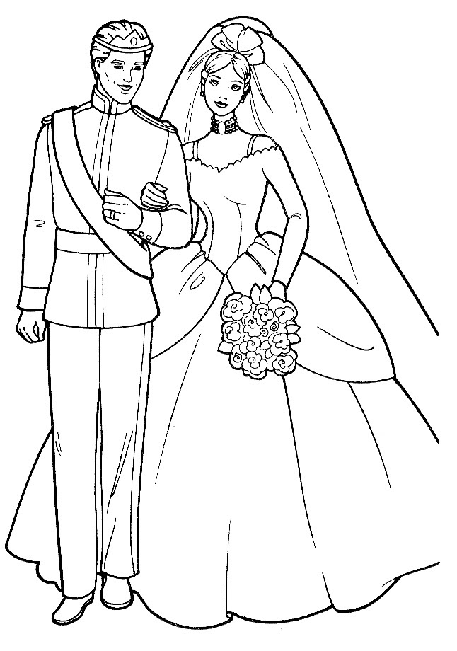 Barbie wedding coloring page