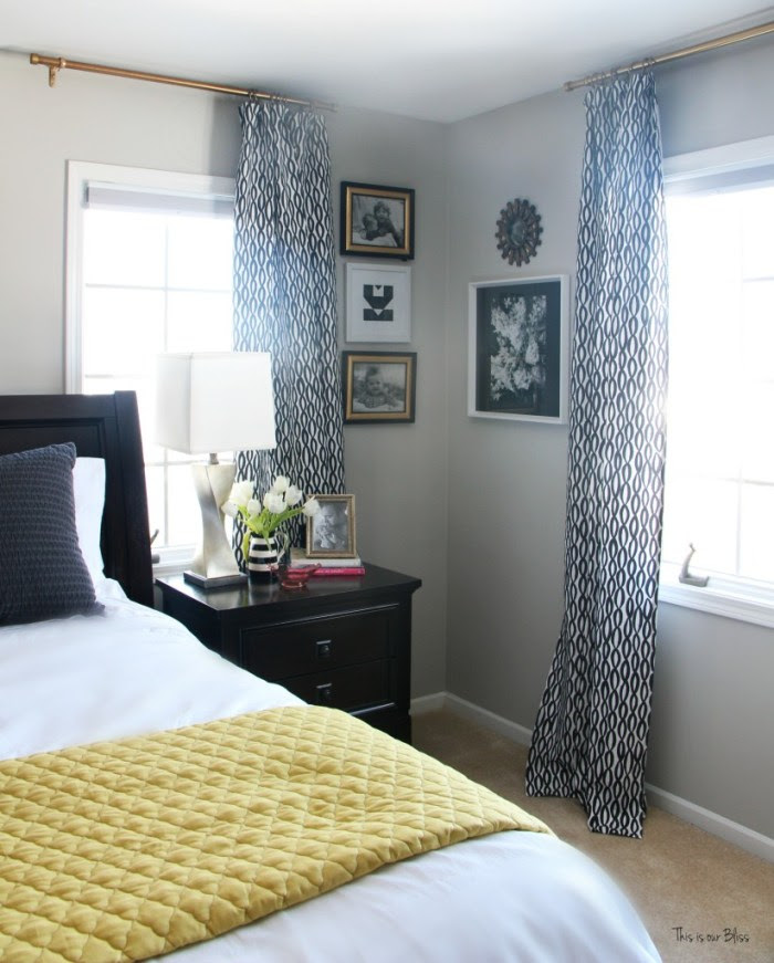 New year new room master bedroom refresh challenge - pattern play bedroom leopard pillow with black and white accents corner gallery wall This is our Bliss www.thisisourbliss.com