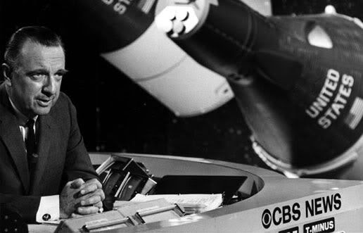 Walter Cronkite with NASA space capsules behind him.