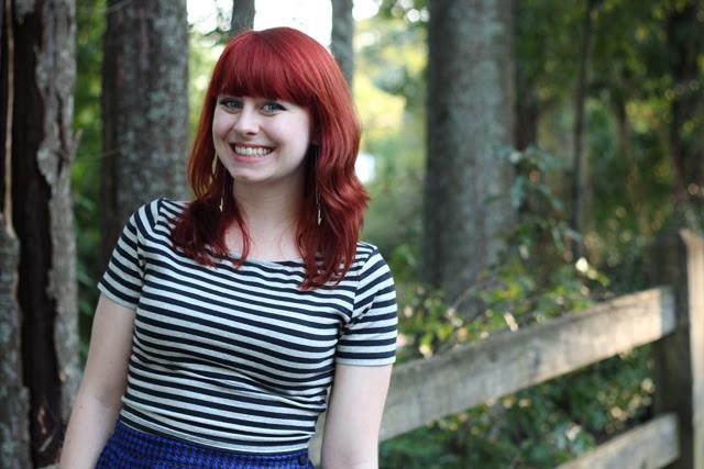 Striped Crop Top, Red Hair