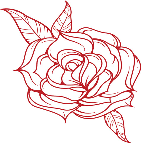 Simple Red Rose Tattoo Design